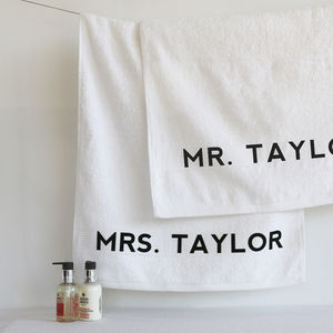 Personalised Mr And Mrs Towel Set - bed, bath & table linen