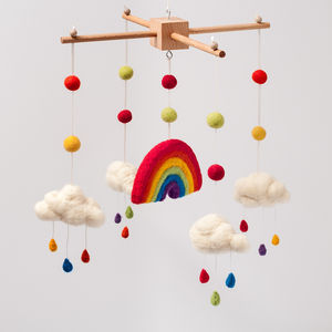 Needle Felt Rainbow And Clouds Cot Mobile - premium toys & games