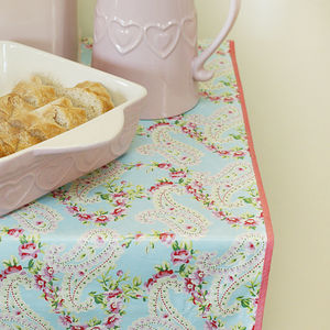 Pink Paisley Print Wipeable Tablecloth - table linen