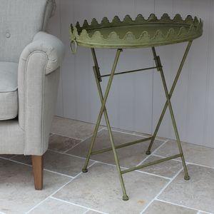 Vintage Green Metal Table - furniture