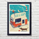 Fish And Chip Van Seaside Art Print