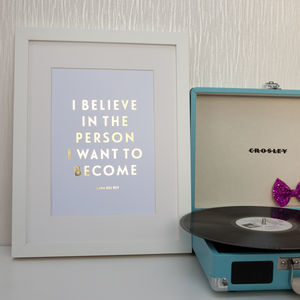 Foil 'I Believe' Quote Print - posters & prints