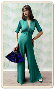 Sable Jumpsuit In Teal Crepe