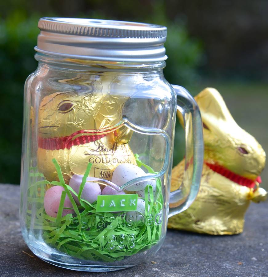 Personalised chocolate bunny in a mason jar by thelittleboysroom personalised chocolate bunny in a mason jar negle Images