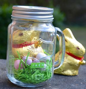 Personalised Chocolate Bunny In A Mason Jar