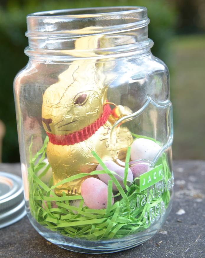 Personalised chocolate bunny in a mason jar by thelittleboysroom personalised chocolate bunny in a mason jar negle Image collections