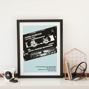 Personalised Number One Cassette Print - pictures & prints for children