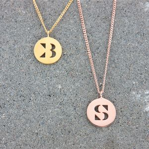 Round Silver Initial Necklace
