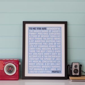 Personalised 'To Me You Are Perfect' Print