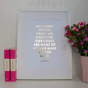 Foil Wuthering Heights Quote Print - book-lover
