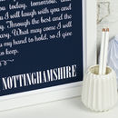 White text on a navy blue background - Large Personalised Wedding Vows Card