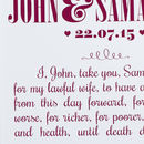Merlot text on a white background - Large Personalised Wedding Vows Card
