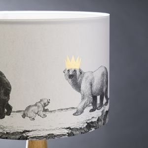 Better Go In Disguise Bear Hand Gilded Lampshade - living room