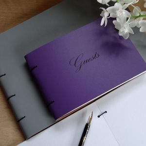Engraved Leather Guest Book - albums & guestbooks