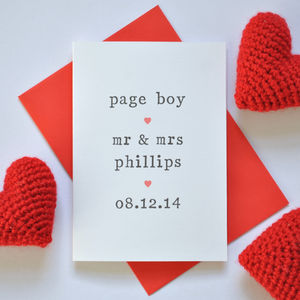Personalised Page Boy Card
