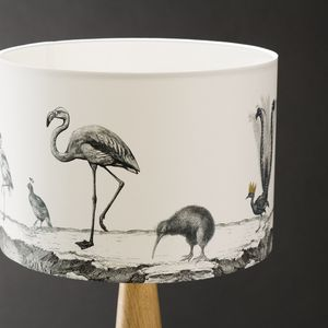 Birds Night Out Hand Gilded Lampshade - bedroom