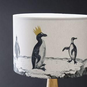 Penguin Parade Hand Gilded Lampshade - dining room