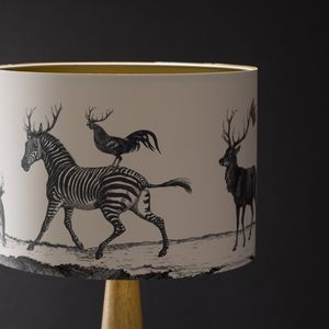 Stag Night Hand Gilded Lampshade - dining room