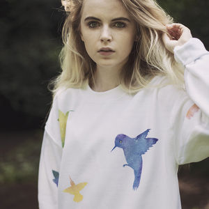 Hand Painted White Hummingbirds Sweater