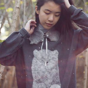 Hand Painted Cute Bear Sweater With Faux Fur Collar