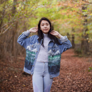 Hand Painted Forest Denim Jacket - coats & jackets