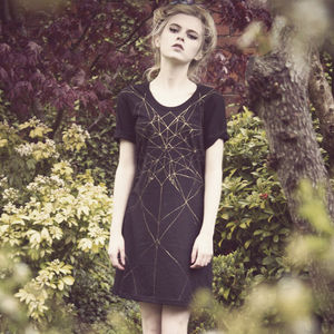 Hand Painted Black/Gold Geometric Dress - women's fashion