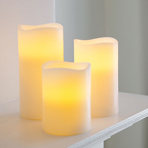 Set Of Three Battery LED Candles - table decorations
