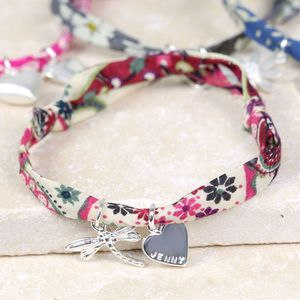 Personalised Liberty Printed Fabric Charm Bracelet