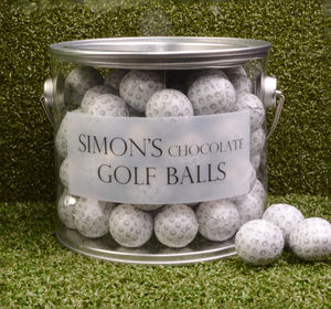 Personalised Bucket Of Chocolate Golf Balls