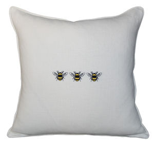 Linen Three Bees Cushion - embroidered & beaded cushions