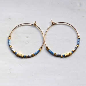 Blue And Gold 30mm Hoops - earrings
