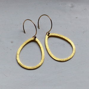 Brushed Drop 35mm Earrings In Gold