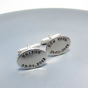 Place And Date Personalised Cufflinks - cufflinks