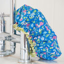 Waterproof Shower Cap In Isabel Cobalt
