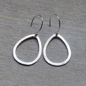 Brushed Drop 35mm Earrings In Silver - women's jewellery