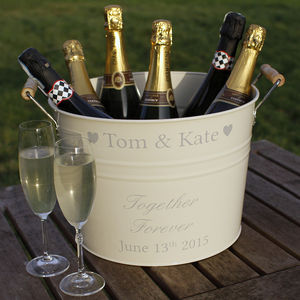 Personalised Wedding Wine Cooler - 25th anniversary: silver