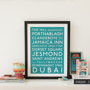 Personalised Classic Destination Print - anniversary prints