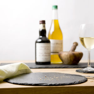 Set Of Two Round Slate Place Mats - dining room