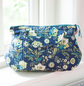 Tall Washbag With Handles In French Fleurs Navy - travel & luggage