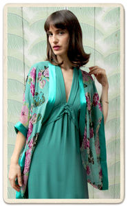 Shrug In Aqua Butterfly Print Silk Georgette - coats & jackets