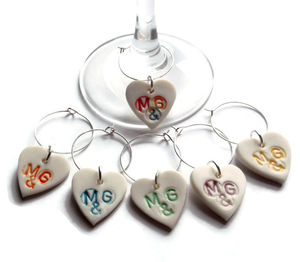 Personalised Wine Glass Charms - wedding favours