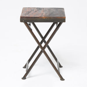 Reclaimed Wood Stool Side Table - furniture