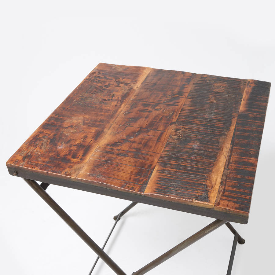 reclaimed wood folding bistro table by horsfall   wright