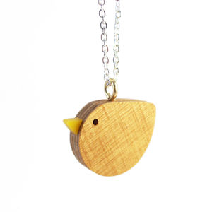 Wooden Bird Necklace - women's jewellery