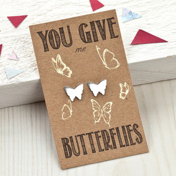 You Give Me Butterflies Sterling Silver Studs
