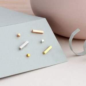 Dot And Dash Stud Earrings - layering necklaces