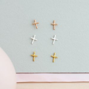 Cross Stud Earrings - costume jewellery