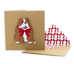 Red Ribbon British Bulldog Personalised Card