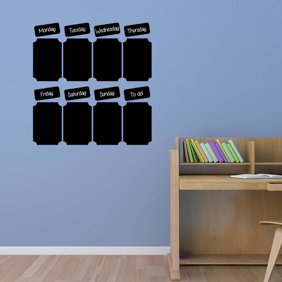 chalkboard weekly planner wall sticker by simply colors