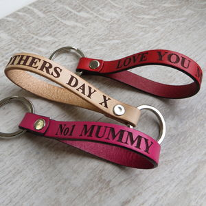 Personalised Engraved Message Real Leather Keyring - 3rd anniversary: leather